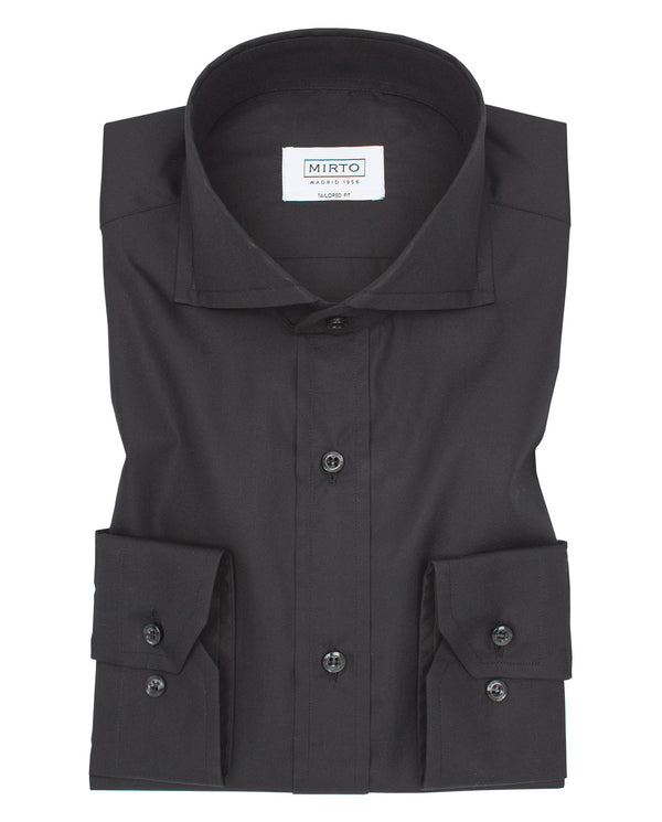 BLACK SPREAD COLLAR TAILORED-FIT SHIRT by MIRTO