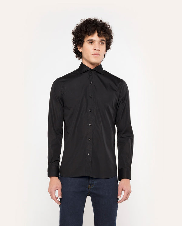 BLACK SPREAD COLLAR TAILORED-FIT SHIRT