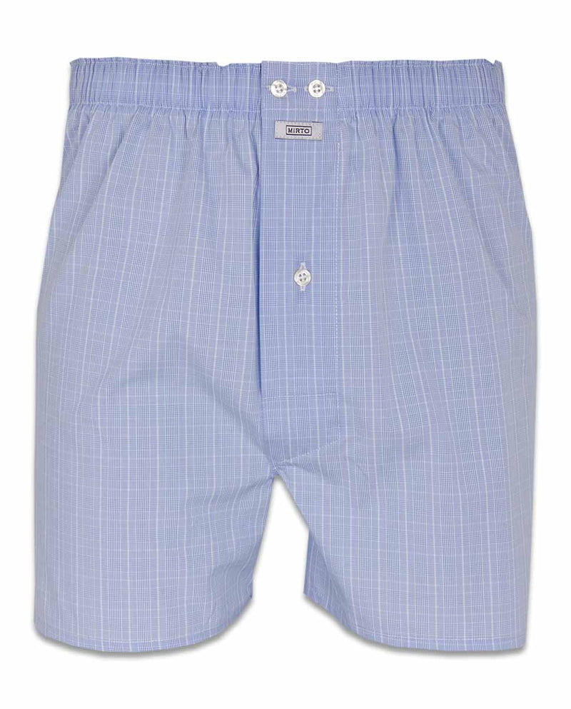 BLUE CHECKED-COTTON BOXER SHORTS