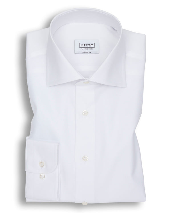 WHITE SPREAD-COLLAR DRESS SHIRT by MIRTO