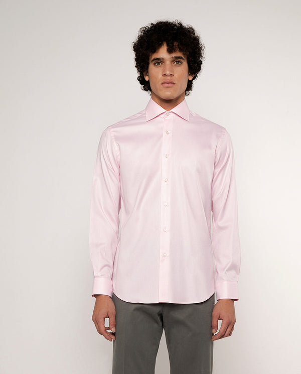 PINK SPREAD-COLLAR DRESS SHIRT