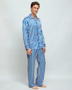 PIJAMA LARGO SATEN RAYAS AZUL ROYAL