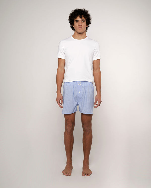 BLUE CHECKED COTTON BOXER SHORTS