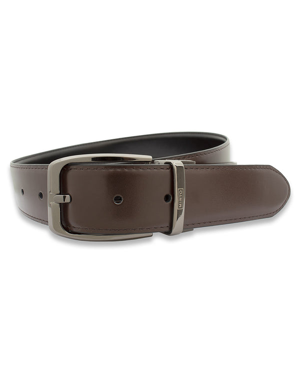 BROWN & BLACK REVERSIBLE LEATHER BELT by MIRTO