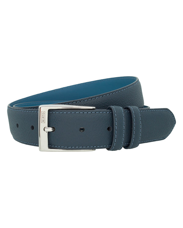 NAVY DRESS GRAIN-LEATHER BELT