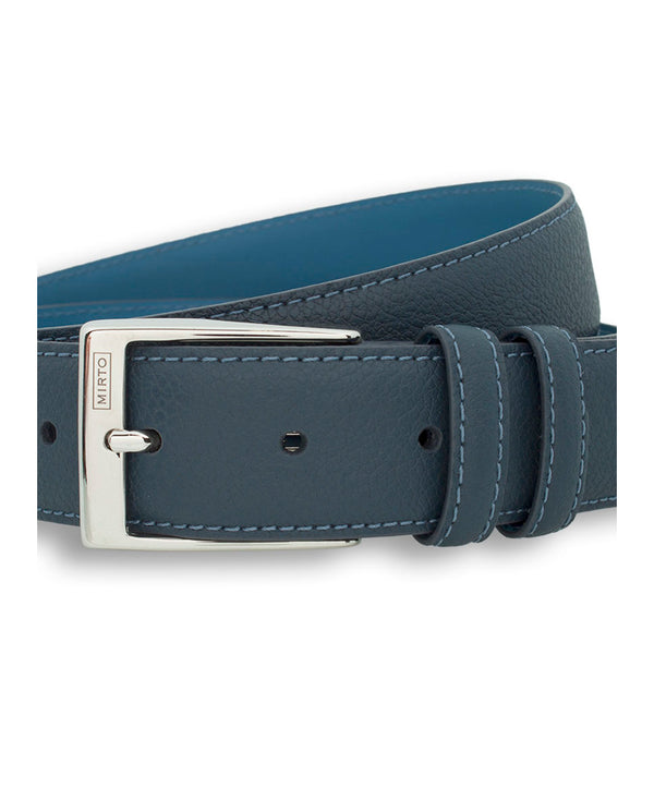 NAVY DRESS GRAIN-LEATHER BELT by MIRTO