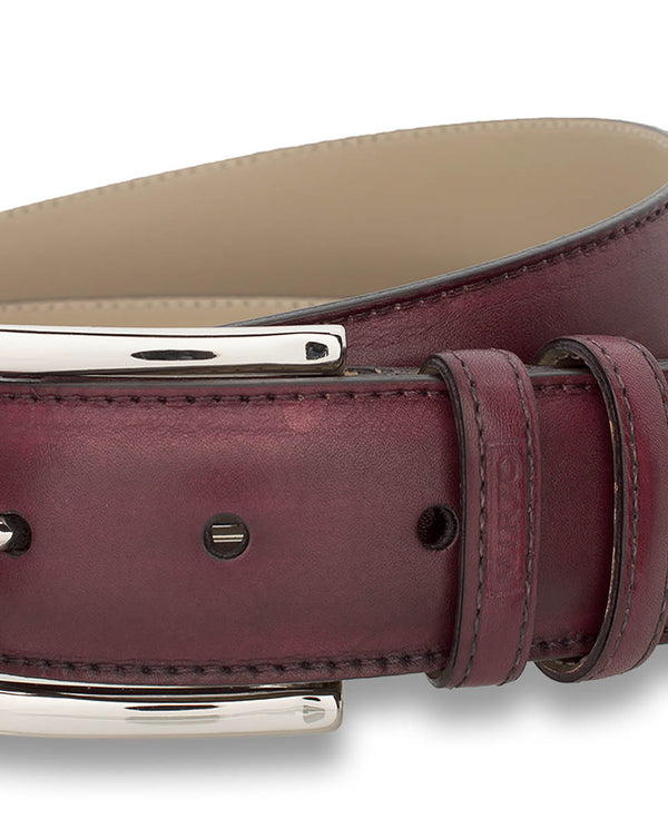 BURGUNDY LEATHER DRESS BELT by MIRTO