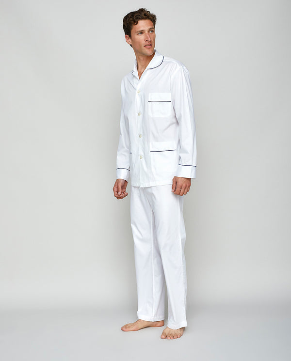 WHITE COTTON SATIN PYJAMA SET