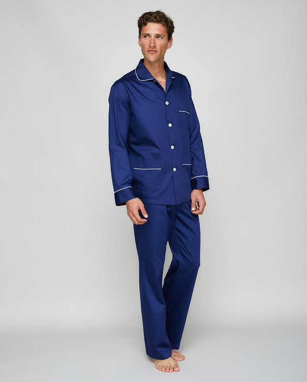 NAVY COTTON SATIN PYJAMA SET