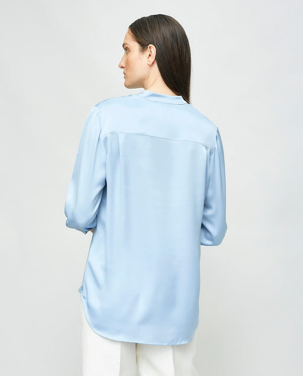 PLAIN COLORED BLOUSE WITH MAO COLLAR
