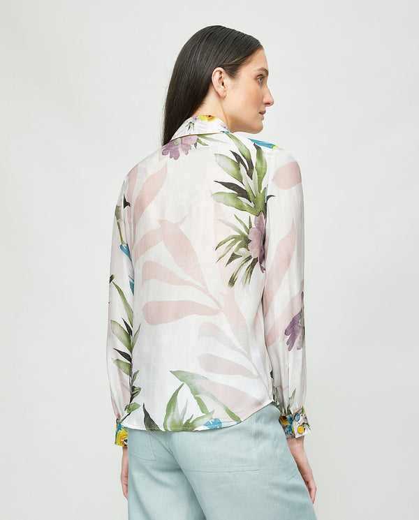 COMBINED PRINT SILK BLOUSE