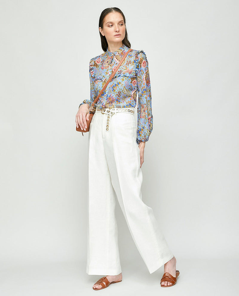 FLORAL PRINT COTTON SILK SHIRT
