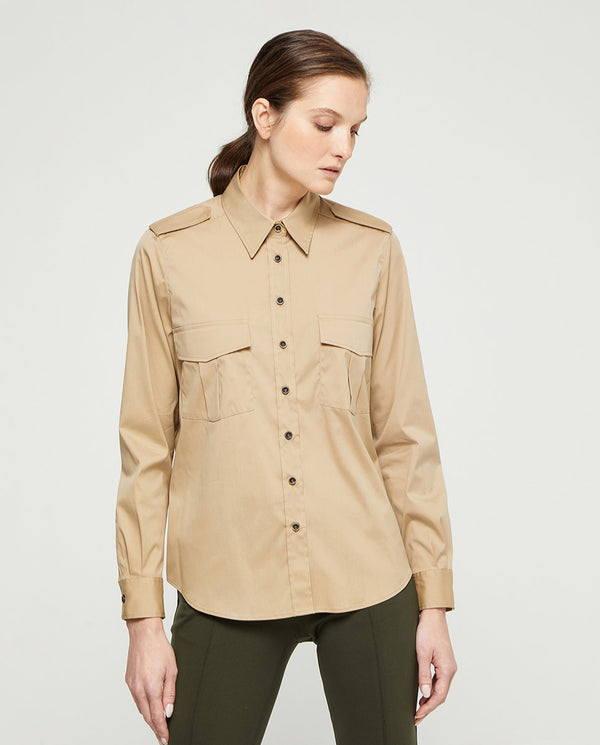 BEIGE SHIRT WITH POCKETS