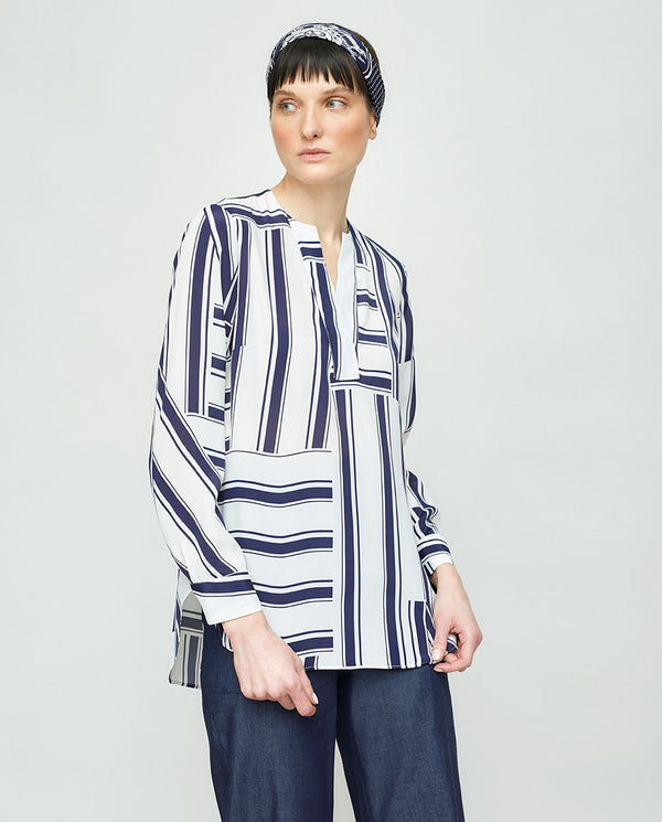 ASYMMETRIC STRIPE PRINTED BLOUSE
