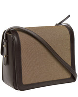 SHOULDER BAG IN CANVAS AND CALFSKIN -ONLINE EXCLUSIVE-