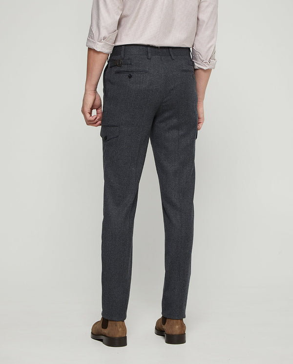 CHARCOL WOOL-FLANNEL CARGO POCKET PANTS by MIRTO