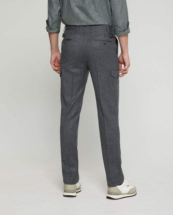 LIGHT GREY WOOL-FLANNEL CARGO POCKET PANTS by MIRT