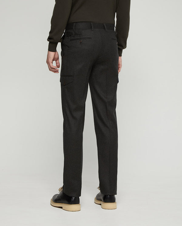 TOBACCO WOOL-FLANNEL CARGO POCKET PANTS by MIRTO