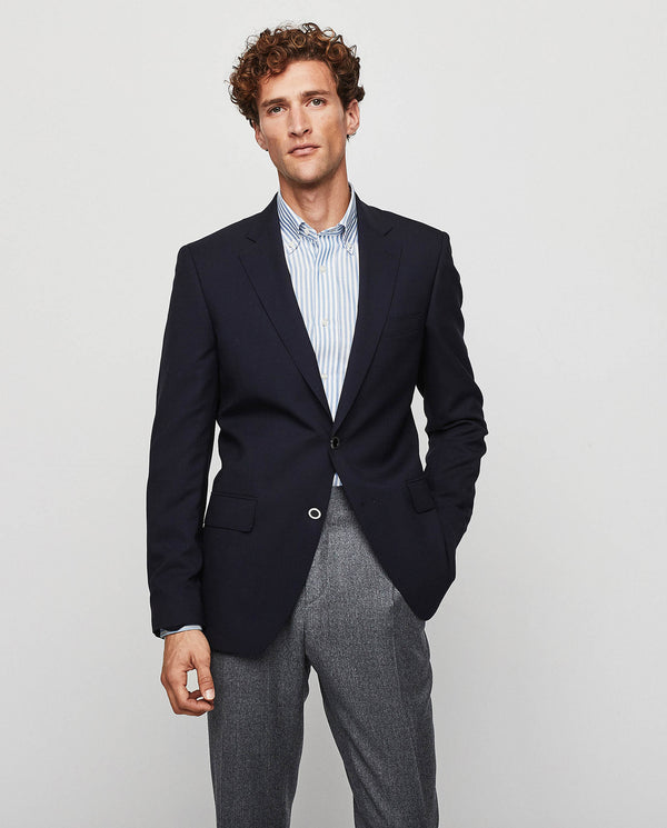 COMFORT FIT 130'S WOOL  NAVY BLAZER