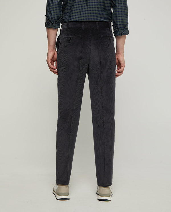 GREY STRAIT-FIT COTTON CORDUROY TROUSERS by MIRTO