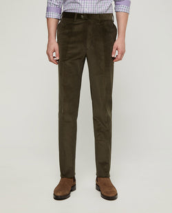 KAKI STRAIT-FIT COTTON CORDUROY TROUSERS by MIRTO