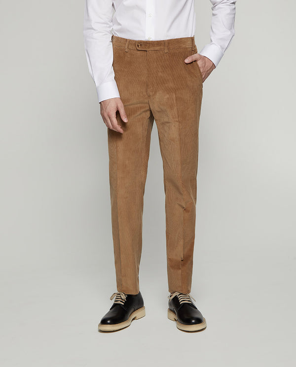 BEIGE STRAIT-FIT COTTON CORDUROY TROUSERS by MIRTO