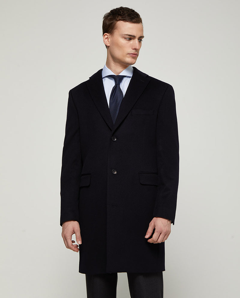 NAVY VIRGIN-WOOL CITY-COAT