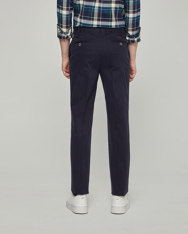 NAVY STRECH-COTTON CASUAL TROUSERS by MIRTO