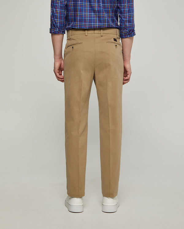 TANNED STRECH-COTTON CASUAL TROUSERS by MIRTO