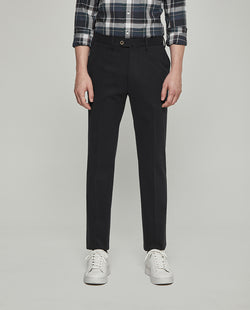 BLACK STRECH-COTTON CASUAL TROUSERS