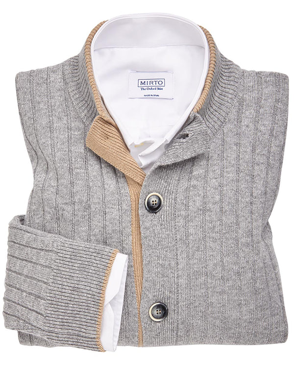 PEARL GREY RIBBED CARDIGAN