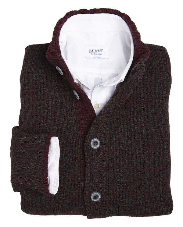 WOOL BURGUNDY CARDIGAN