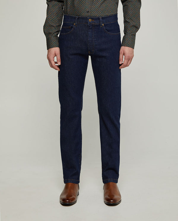 STRAIT-FIT 5-POCKET DENIM WASHED TROUSERS