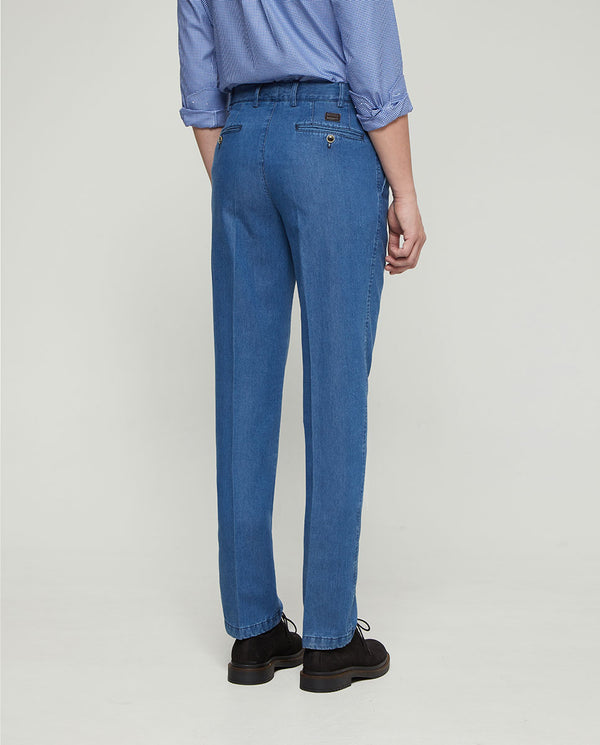 LIGHT BLUE CASUAL DENIM TROUSERS