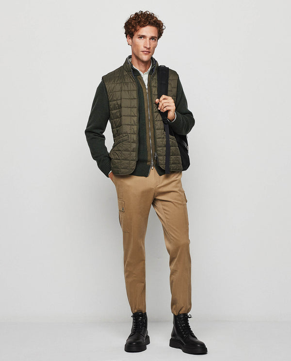 GREEN KNIT-TRIMMED PADDED GILET by MIRTO