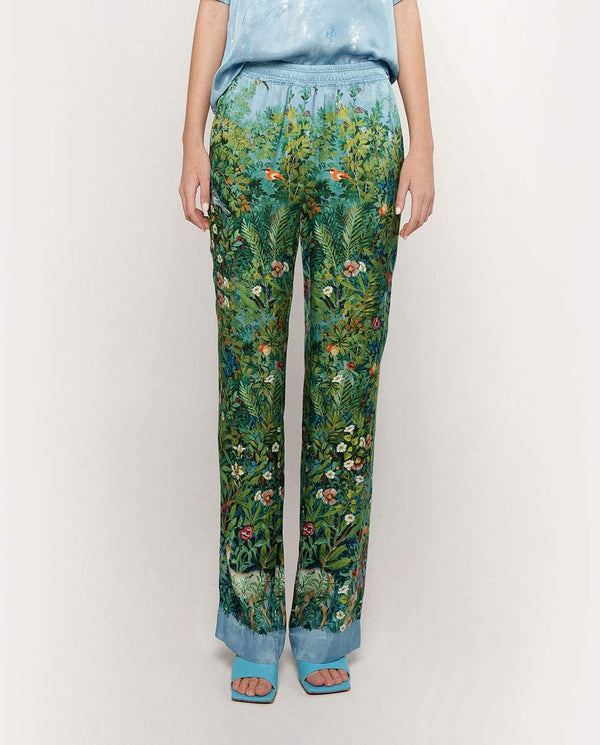 SATIN GARDEN PRINTED TROUSERS