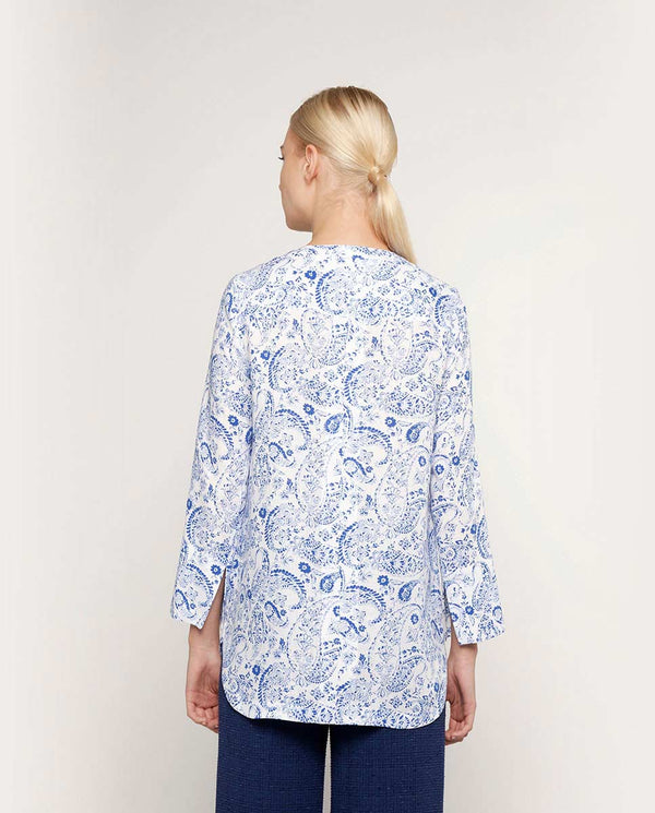 BLUSA DE LINO ESTAMPADO by MIRTO
