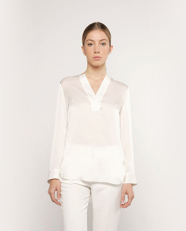 V-NECK SILK SATIN BLOUSE