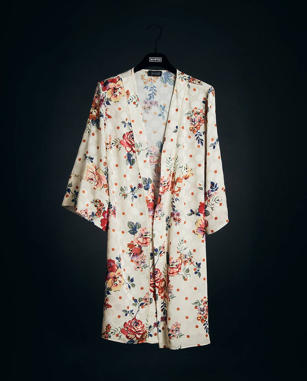 FLORAL PRINT SHORT DRESSING GOWN