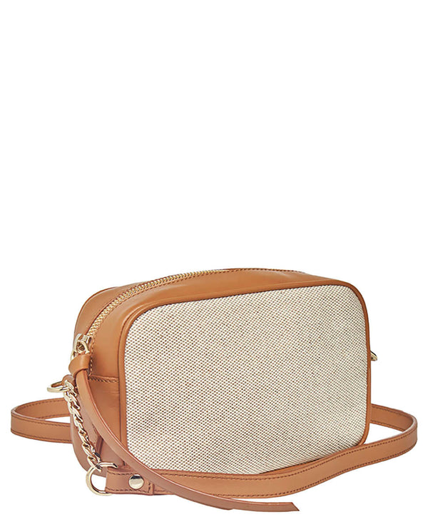 CANVAS AND LEATHER SHOULDER BAG  -ONLINE EXCLUSIVE-