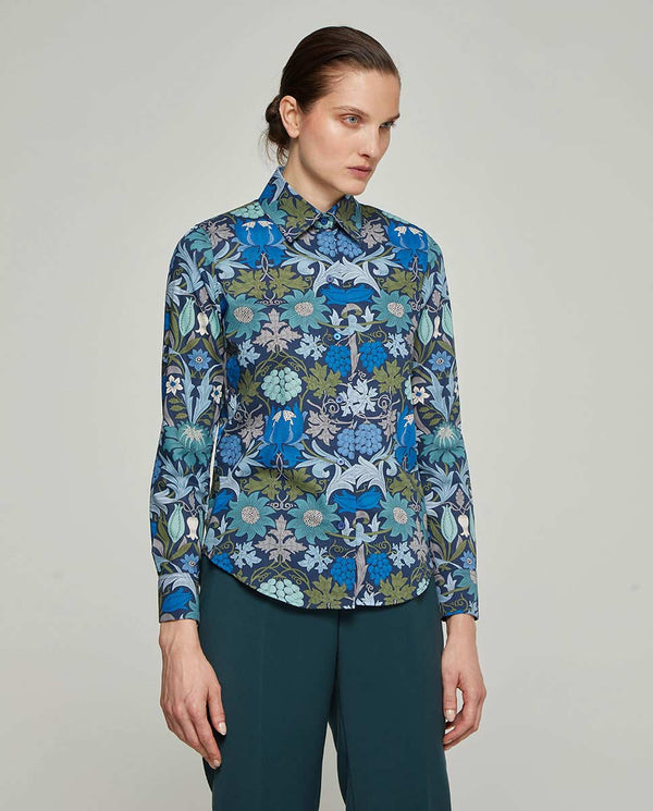 CAMISA ESTAMPADO FLORAL AZUL by MIRTO