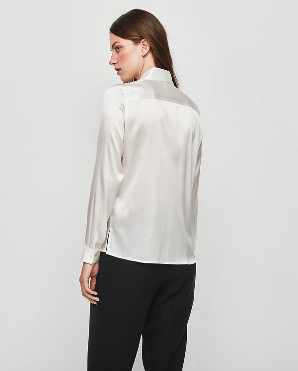 WHITE SILK SATIN BLOUSE