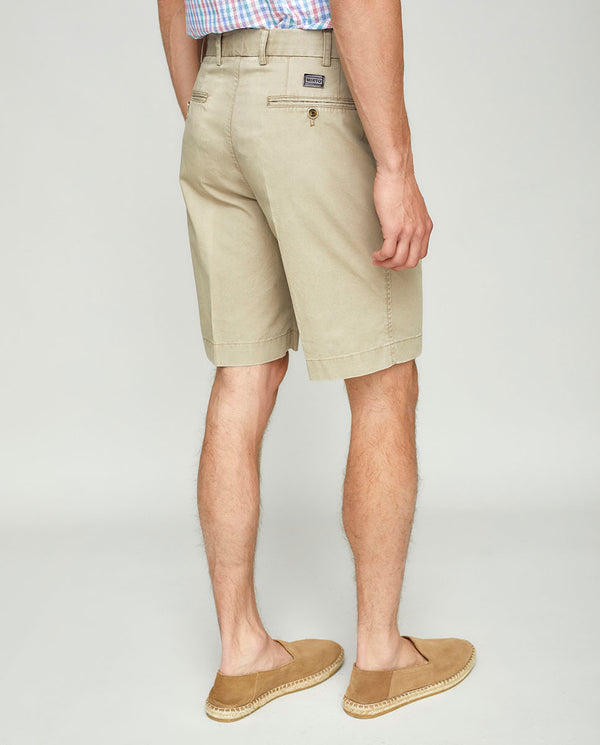 BEIGE COTTON WASHED SHORTS
