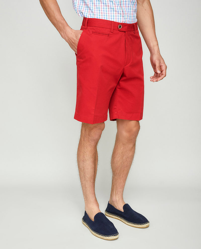 RED COTTON WASHED SHORTS