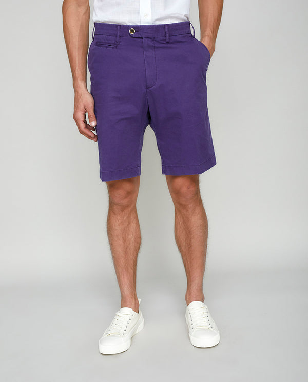 PURPLE COTTON WASHED SHORTS