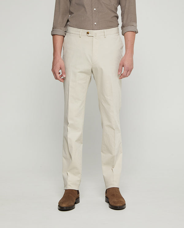 CREAM CASUAL STRETCH-COTTON TROUSERS