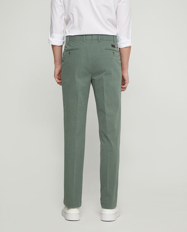 MINT-GREEN CASUAL STRETCH-COTTON PANTS