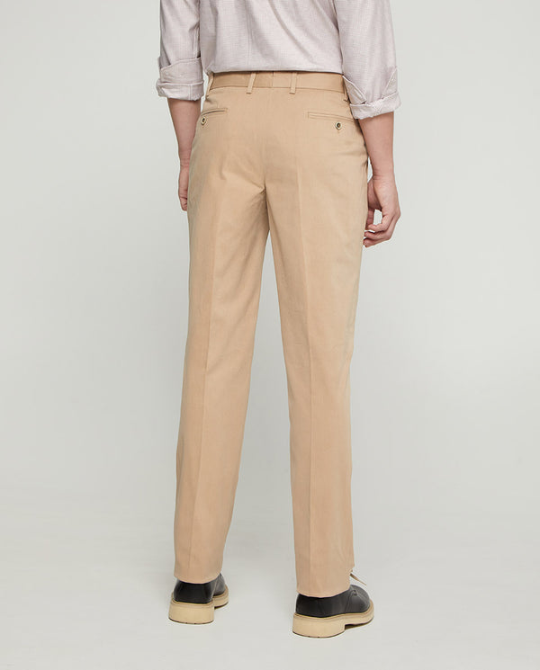 CASUAL STRETCH BEIGE COTTON PANTS