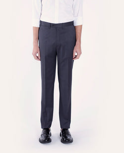 CLASSIC-FIT GREY WOOL TROUSERS