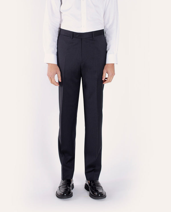 CLASSIC-FIT DARK GREY WOOL TROUSERS